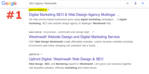 SEO Agency westmeath ranked number 1 on google