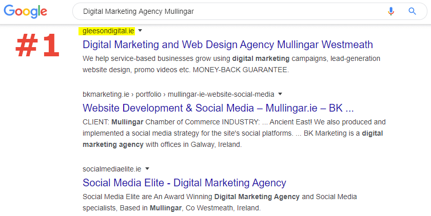 SEO number 1 ranking digital marketing agency mullingar