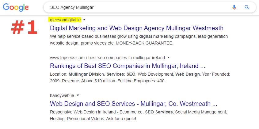 SEO number 1 ranking SEO agency mullingar